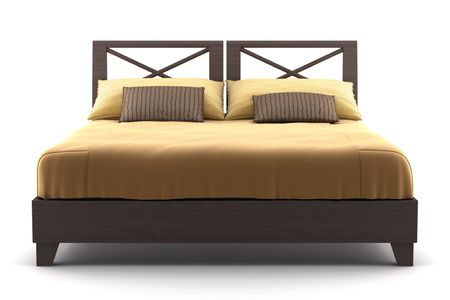brown wooden bed isolated on white background Stock Photo