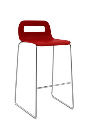 red bar chair isolated on white background photo