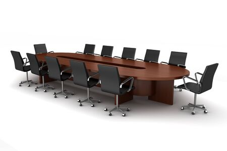 brown meeting table with black chairs isolated on white photo