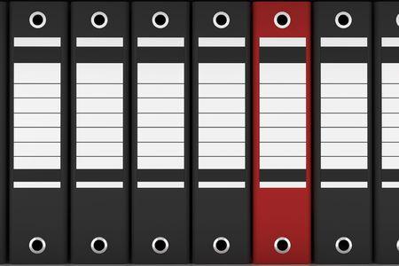 red file folder among black folders Stock Photo - 4336828