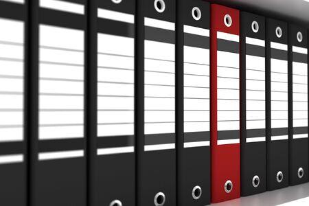 red file folder among black folders Stock Photo - 4348527