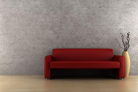 parquet floors: divano rosso e vaso con legno secco di fronte al muro grigio Archivio Fotografico