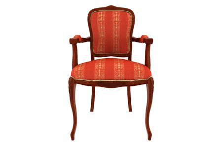 red classic armchair isolated on white background photo