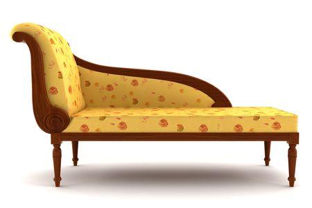 beige classic sofa isolated on white background Stock Photo