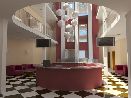 hotel balcony: modern hotel lobby with red reception