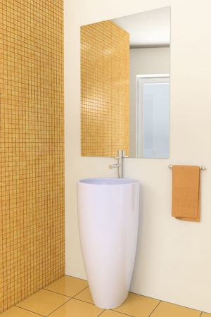modern bathroom with brown tiles on wall Stock Photo - 4484182