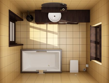 3d japanese style bathroom with brown tiles. top view