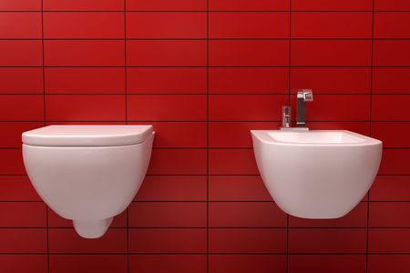 modern toilet with red tile on wall photo