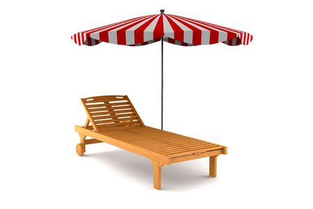 wooden beach chair and umbrella isolated on white background  photo
