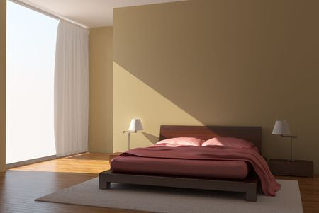 modern bedroom with yellow walls Stock Photo