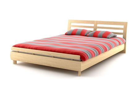 łóżko: drewniane łóżko pojedyncze na białym tle Zdjęcie Seryjne