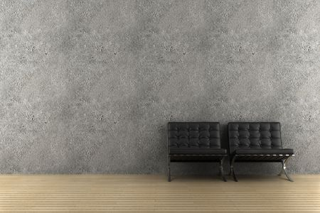 two black armchairs in front of grey wall Stock Photo - 5574325