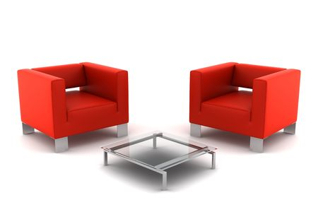 two red armchairs with table isolated on white background photo