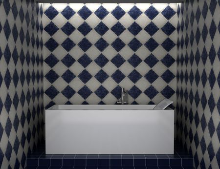 modern bathroom with blue and white tiles on wall Stock Photo - 5587541