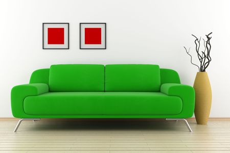 green sofa and vase with dry wood in front of white wall photo
