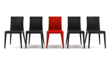 red chair among black chairs isolated on white background photo