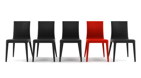 red chair: red chair among black chairs isolated on white background Stock Photo