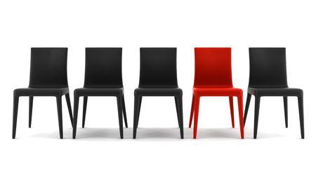 wśród: Red chair wÅ›ród czarnych krzeseÅ' samodzielnie na biaÅ'ym tle Zdjęcie Seryjne