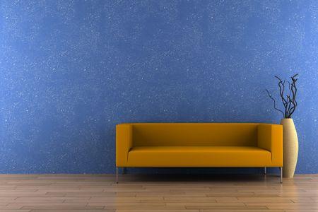 blue leather sofa: divano arancia e vaso con legno secco davanti alla parete blu Archivio Fotografico