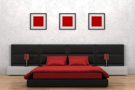red pillows: modern bedroom with white wall Stock Photo