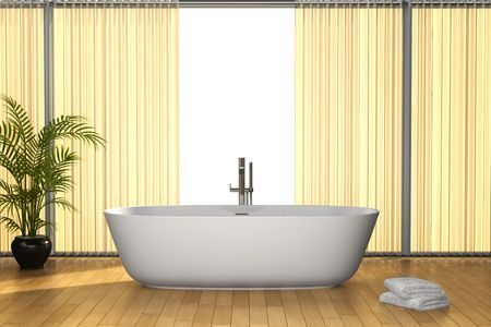 modern bathroom with brown floor Stock Photo - 6421514