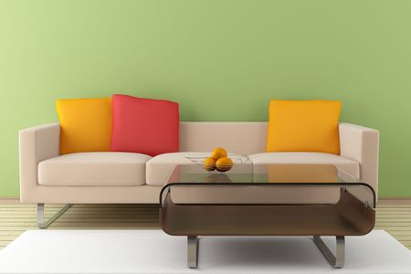 modern interior with beige sofa and  table in front of green wall