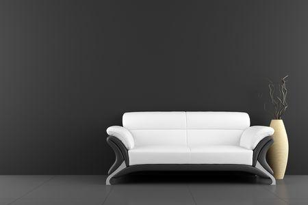 divano: divano bianco e vaso con legno secco davanti al muro nero  Archivio Fotografico