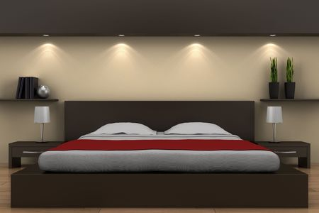 modern bedroom with brown bed and beige wall Stock Photo - 6598979