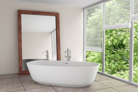 modern bathroom with large mirror Stock Photo - 6702087