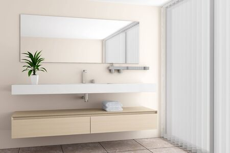 modern bathroom with beige wall Stock Photo - 6702088