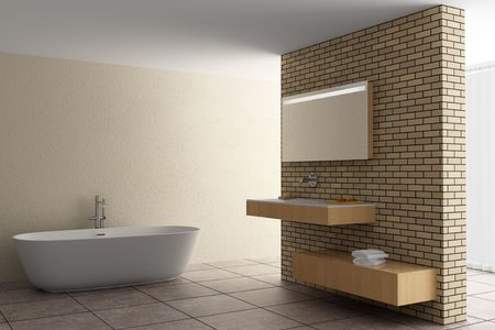 modern bathroom with brick wall photo