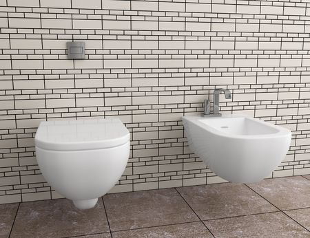 modern toilet with beige tile on wall photo