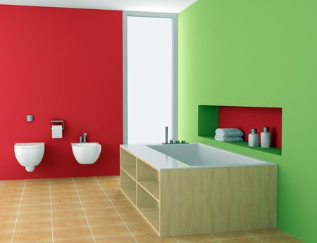 modern bathroom with red and green walls