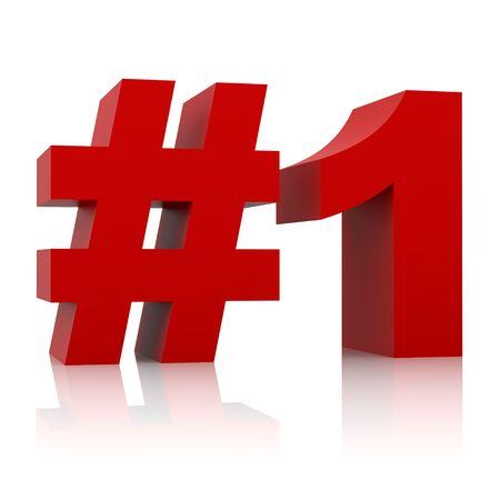 numero uno: rosso segno numero uno isolato su sfondo bianco Archivio Fotografico