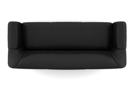 modern sofa: top view of black leather sofa  Stock Photo