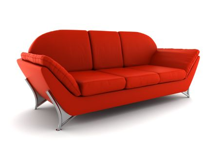 modern sofa: red leather sofa