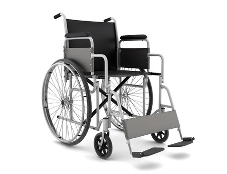 Wheel chair: invalid chair isolated on white background Stock Photo