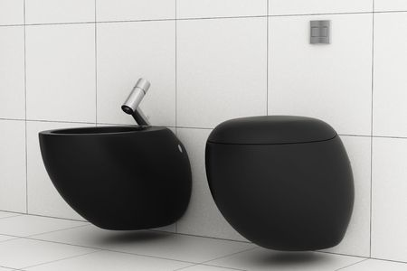 modern bathroom with black toilet bowl and bidet photo