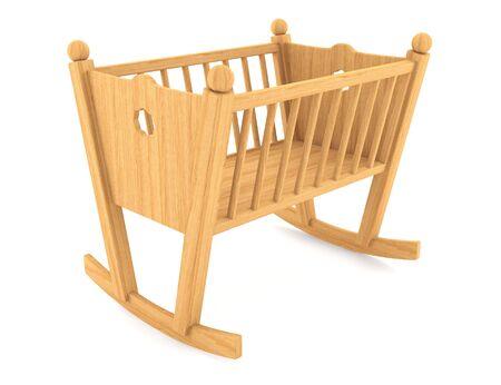 bassinet: child crib isolated on white background