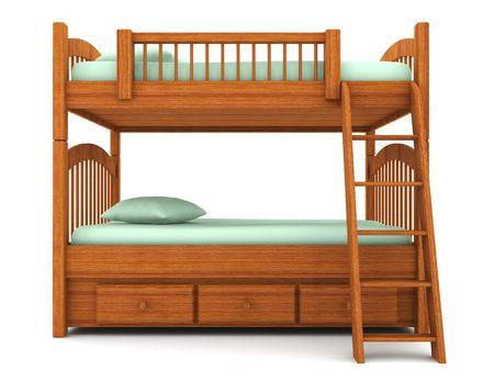 cama: litera aislado sobre fondo blanco
