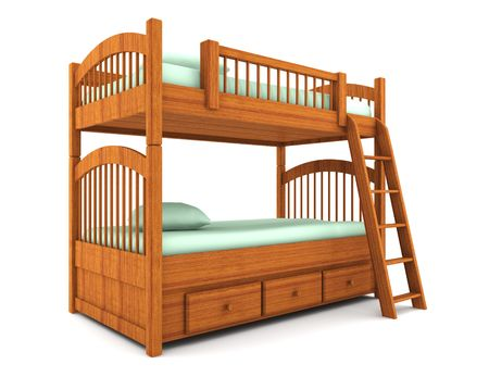 bunkbed: bunk bed isolated on white background Stock Photo