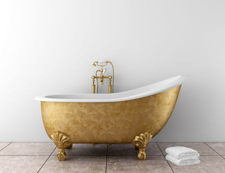 bathroom faucet: classic bathroom with old bathtub and white wall