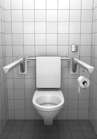 inodoro: aseo para inv�lidos con azulejos blancos en pared