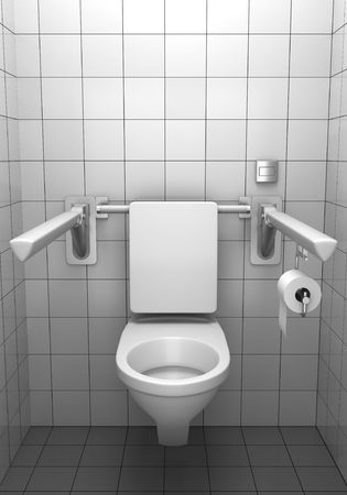 public restroom: toilet for invalids with white tile on wall