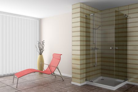 modern bathroom with red couch and brown vase photo