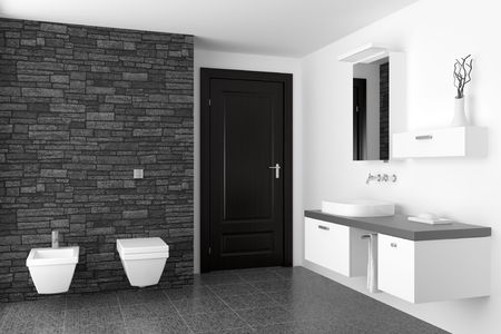 bad: modernes Badezimmer mit schwarzen Steinmauer und wei�en Ausr�stung