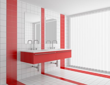 bathroom wall: modern bathroom with red and white tiles on wall and floor Stock Photo