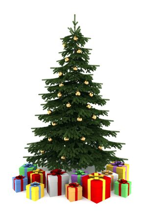 christmas tree with color gift boxes isolated on white background photo