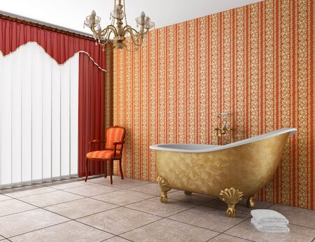 classic bathroom with old bathtub and red striped wall Stock Photo - 7392832