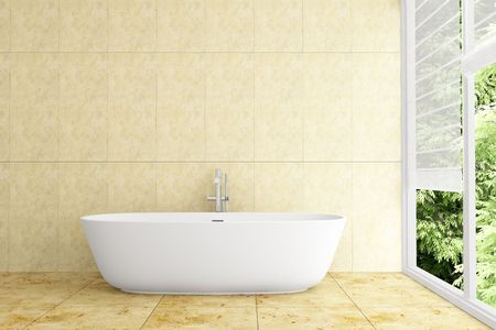 modern bathroom with beige tiles on wall and floor Stock Photo - 7693857